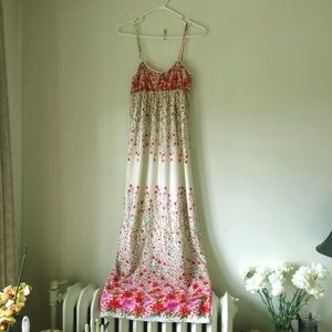 Bjewel Ivory/Pink Lined Floral Maxi Dress